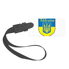 Ukraine Flag Crest Shield Luggage Tag