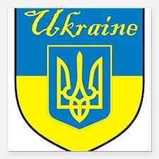 "Ukraine Flag Crest Shield Square Car Magnet 3"" x 3"