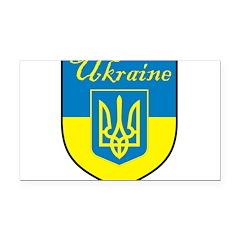 Ukraine Flag Crest Shield Rectangle Car Magnet