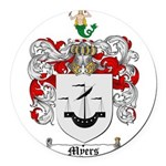 Myers Family Crest Round Car Magnet