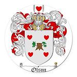 Olson Family Crest Round Car Magnet