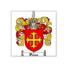 "Perez Family Crest Square Sticker 3"" x 3"""