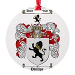 Phillips Family Crest Round Ornament