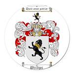 Phillips Family Crest Round Car Magnet