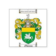"Quinn Family Crest Square Sticker 3"" x 3"""