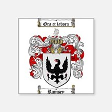"Ramsey Family Crest Square Sticker 3"" x 3"""