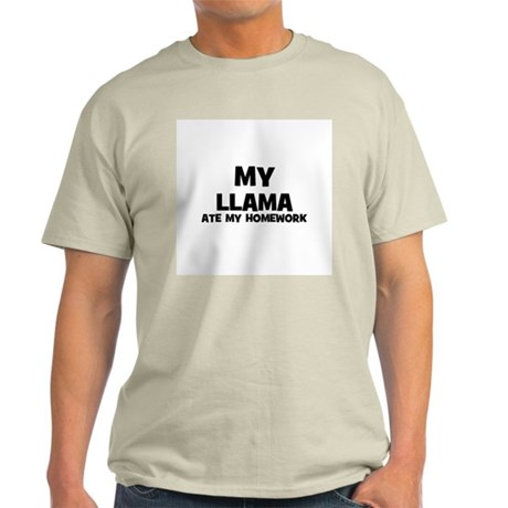 My Llama Ate My Homework Ash Grey T-Shirt
