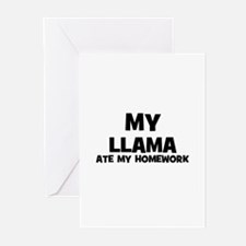 My Llama Ate My Homework Greeting Cards (Package o