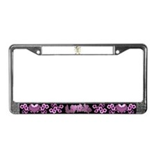 Yellow kitty bopping License Plate Frame