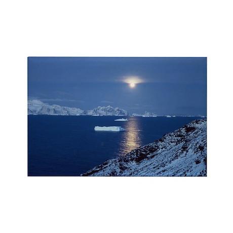 Moon Rise Antarctica Rectangle Magnet