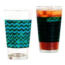 Blue Green Grunge Chevron Drinking Glass
