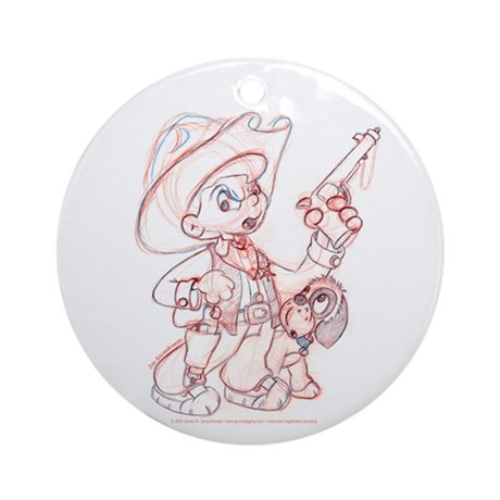 Cowboy Drawing Ornament (Round)