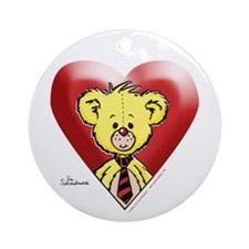 Teddy Bear Heart Ornament (Round)