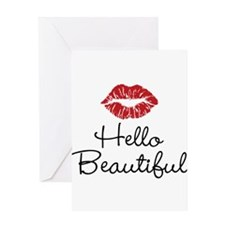 Hello Beautiful Red Lips Greeting Card