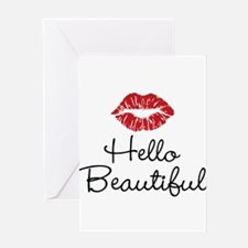Hello Beautiful Red Lips Greeting Card