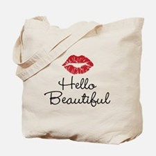 Hello Beautiful Red Lips Tote Bag