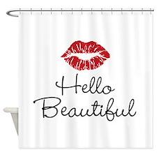 Hello Beautiful Red Lips Shower Curtain