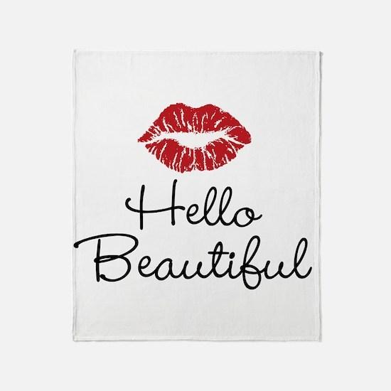 Hello Beautiful Red Lips Throw Blanket
