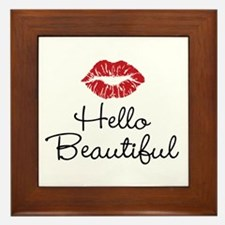 Hello Beautiful Red Lips Framed Tile