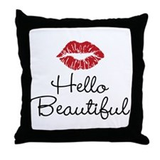 Hello Beautiful Red Lips Throw Pillow