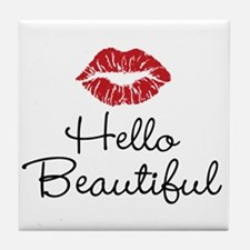 Hello Beautiful Red Lips Tile Coaster