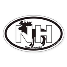 New Hampshire NH Euro Oval Sticker with Moose