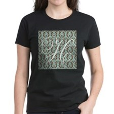 H Initial Damask Turquoise and Chocolate T-Shirt