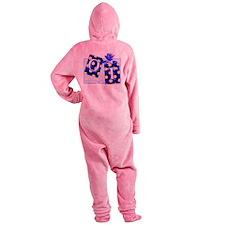 ot puzzle aqua Footed Pajamas