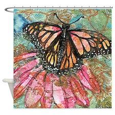 Orange Butterfly Fairy Bathroom Shower Curtain