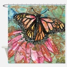 Orange Butterfly Fairy Bathroom Shower Curtain