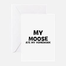 My Moose Ate My Homework Greeting Cards (Package o