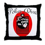 Poker Diva Throw Pillow