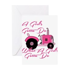 Pink Tractor Greeting Card