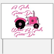Pink Tractor Yard Sign