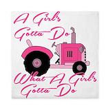 Pink tractor Queen Duvet Covers
