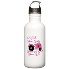 Pink Tractor Water Bottle
