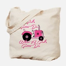 Pink Tractor Tote Bag
