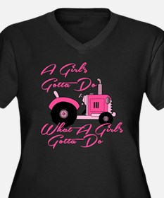 Pink Tractor Plus Size T-Shirt