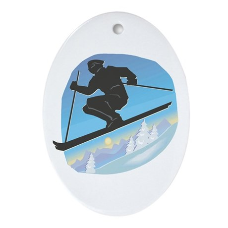Cool Skier Design Oval Ornament