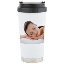 Young woman resting in the bedr Travel Mug