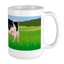 A cow in the field, illustration Mug