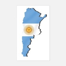 Argentina Flag Map Sticker (Rectangle)