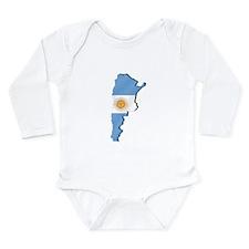 Argentina Flag Map Long Sleeve Infant Bodysuit