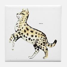 Serval African Wild Cat Tile Coaster
