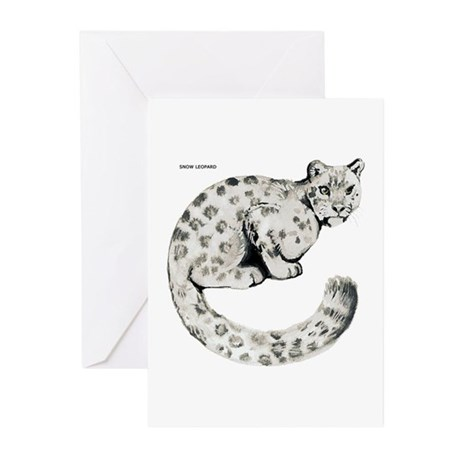 Snow Leopard Cat Greeting Cards (Pk of 10)