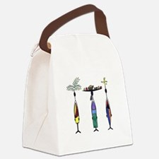 Tropical Ethnic Figures Canvas Lunch Bag