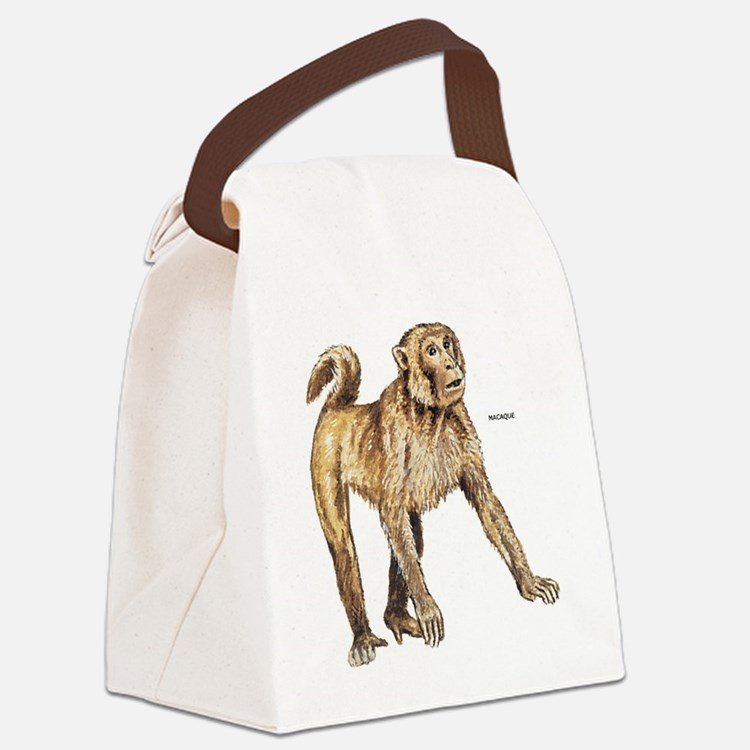 Macaque Monkey Ape Canvas Lunch Bag