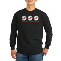 Bacon Bacon Bacon Long Sleeve Dark T-Shirt