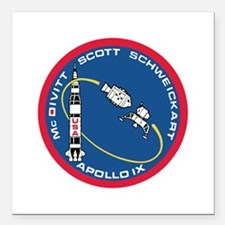 "Apollo 9 Square Car Magnet 3"" x 3"""