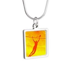 VOLLEYBALL ORANGE Silver Square Necklace